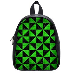 Triangle1 Black Marble & Green Brushed Metal School Bag (small)