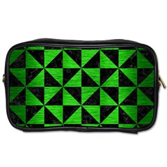 Triangle1 Black Marble & Green Brushed Metal Toiletries Bags