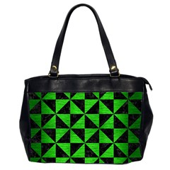 Triangle1 Black Marble & Green Brushed Metal Office Handbags (2 Sides)