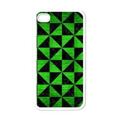 Triangle1 Black Marble & Green Brushed Metal Apple Iphone 4 Case (white)