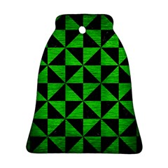 Triangle1 Black Marble & Green Brushed Metal Bell Ornament (two Sides)