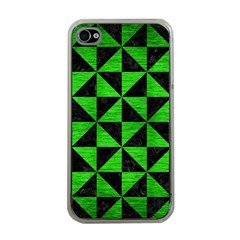 Triangle1 Black Marble & Green Brushed Metal Apple Iphone 4 Case (clear)