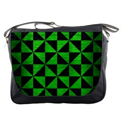 Triangle1 Black Marble & Green Brushed Metal Messenger Bags