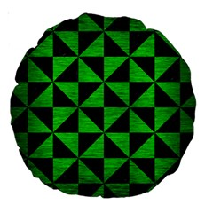 Triangle1 Black Marble & Green Brushed Metal Large 18  Premium Round Cushions
