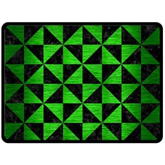 Triangle1 Black Marble & Green Brushed Metal Double Sided Fleece Blanket (large)