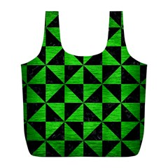 Triangle1 Black Marble & Green Brushed Metal Full Print Recycle Bags (l)