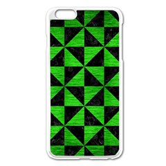 Triangle1 Black Marble & Green Brushed Metal Apple Iphone 6 Plus/6s Plus Enamel White Case