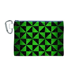Triangle1 Black Marble & Green Brushed Metal Canvas Cosmetic Bag (m)