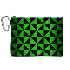 Triangle1 Black Marble & Green Brushed Metal Canvas Cosmetic Bag (xl)