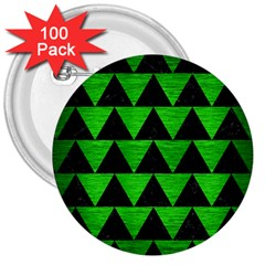 Triangle2 Black Marble & Green Brushed Metal 3  Buttons (100 Pack)