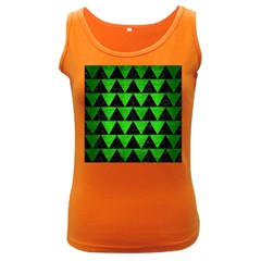 Triangle2 Black Marble & Green Brushed Metal Women s Dark Tank Top