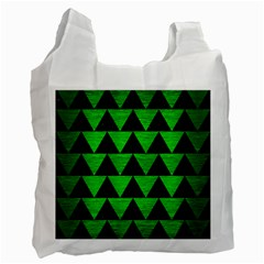 Triangle2 Black Marble & Green Brushed Metal Recycle Bag (one Side)