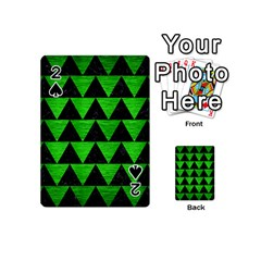 Triangle2 Black Marble & Green Brushed Metal Playing Cards 54 (mini)