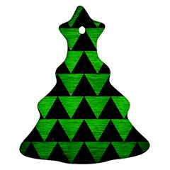 Triangle2 Black Marble & Green Brushed Metal Ornament (christmas Tree)
