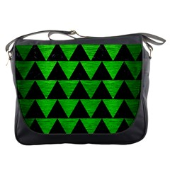 Triangle2 Black Marble & Green Brushed Metal Messenger Bags