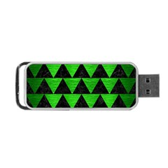 Triangle2 Black Marble & Green Brushed Metal Portable Usb Flash (two Sides)