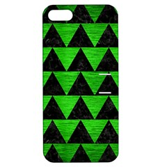 Triangle2 Black Marble & Green Brushed Metal Apple Iphone 5 Hardshell Case With Stand