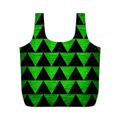 Triangle2 Black Marble & Green Brushed Metal Full Print Recycle Bags (m)