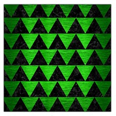 Triangle2 Black Marble & Green Brushed Metal Large Satin Scarf (square)