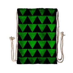 Triangle2 Black Marble & Green Brushed Metal Drawstring Bag (small)