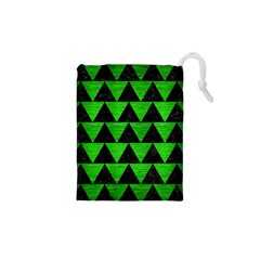 Triangle2 Black Marble & Green Brushed Metal Drawstring Pouches (xs)