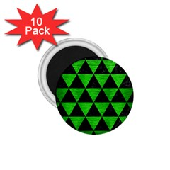 Triangle3 Black Marble & Green Brushed Metal 1 75  Magnets (10 Pack)