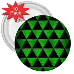 Triangle3 Black Marble & Green Brushed Metal 3  Buttons (10 Pack)