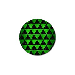 Triangle3 Black Marble & Green Brushed Metal Golf Ball Marker