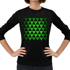 Triangle3 Black Marble & Green Brushed Metal Women s Long Sleeve Dark T Shirts
