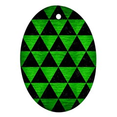 Triangle3 Black Marble & Green Brushed Metal Oval Ornament (two Sides)