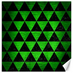 Triangle3 Black Marble & Green Brushed Metal Canvas 12  X 12