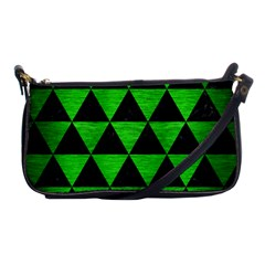 Triangle3 Black Marble & Green Brushed Metal Shoulder Clutch Bags