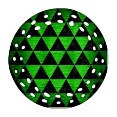 Triangle3 Black Marble & Green Brushed Metal Ornament (round Filigree)