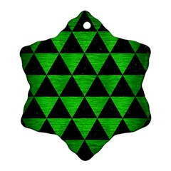 Triangle3 Black Marble & Green Brushed Metal Ornament (snowflake)
