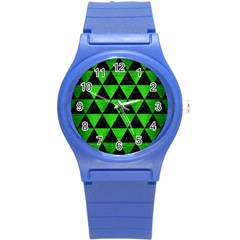 Triangle3 Black Marble & Green Brushed Metal Round Plastic Sport Watch (s)