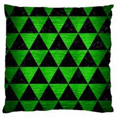 Triangle3 Black Marble & Green Brushed Metal Large Cushion Case (one Side)
