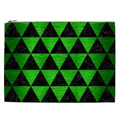 Triangle3 Black Marble & Green Brushed Metal Cosmetic Bag (xxl)
