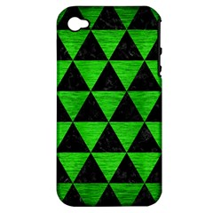 Triangle3 Black Marble & Green Brushed Metal Apple Iphone 4/4s Hardshell Case (pc+silicone)