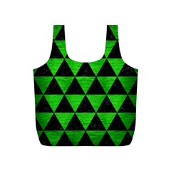 Triangle3 Black Marble & Green Brushed Metal Full Print Recycle Bags (s)