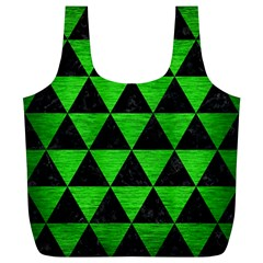 Triangle3 Black Marble & Green Brushed Metal Full Print Recycle Bags (l)