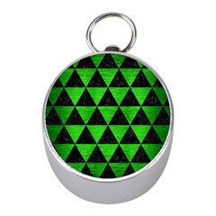Triangle3 Black Marble & Green Brushed Metal Mini Silver Compasses