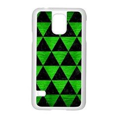 Triangle3 Black Marble & Green Brushed Metal Samsung Galaxy S5 Case (white)