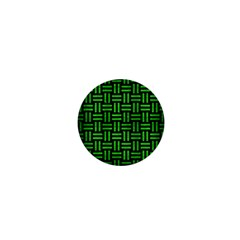 Woven1 Black Marble & Green Brushed Metal 1  Mini Magnets