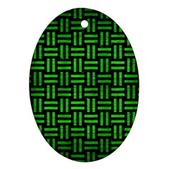 Woven1 Black Marble & Green Brushed Metal Ornament (oval)