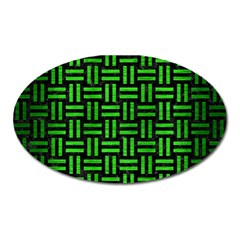 Woven1 Black Marble & Green Brushed Metal Oval Magnet