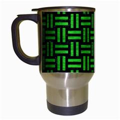 Woven1 Black Marble & Green Brushed Metal Travel Mugs (white)