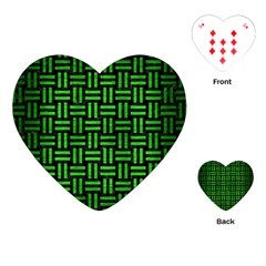 Woven1 Black Marble & Green Brushed Metal Playing Cards (heart)