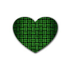Woven1 Black Marble & Green Brushed Metal Rubber Coaster (heart)