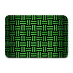 Woven1 Black Marble & Green Brushed Metal Plate Mats