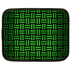 Woven1 Black Marble & Green Brushed Metal Netbook Case (xl)